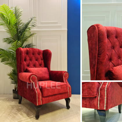 OXFORD Chesterfield Fabric Wing Chair With Tufted Button