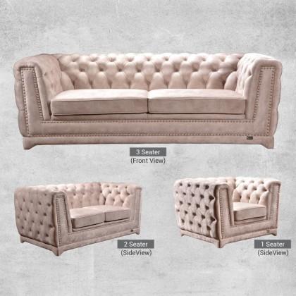 PRIMROSE Chesterfield Fabric Sofa 3 Seater
